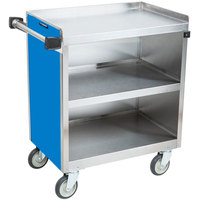 Lakeside 822BL Heavy-Duty Stainless Steel Three Shelf Utility Cart With Enclosed Base and Royal Blue Finish - 19 1/2 inch x 31 1/3 inch x 34 1/2 inch