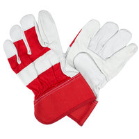 Red Canvas Work Gloves with Premium Grain Goatskin Leather Palm Coating and Rubber Cuffs - Large - Pair