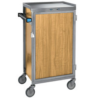 Lakeside 654-10 Stainless Steel Six Tray Meal Delivery Cart With Light Maple Finish