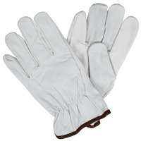 Gray Standard Grain Goatskin Leather Driver's Gloves with Keystone Thumbs - Medium - Pair