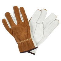 Select Grain Cowhide Leather Driver's Gloves with Brown Split Leather Backs and Kevlar® Stitching - Large - Pair