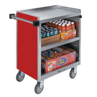 Lakeside 844RD Heavy-Duty Stainless Steel Three Shelf Utility Cart With Enclosed Base and Red Finish - 22 1/2 inch x 39 5/16 inch x 37 inch
