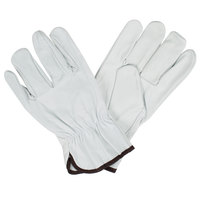 Gray Premium Grain Goatskin Leather Driver's Gloves - Large - Pair