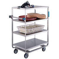 Lakeside 546 Heavy-Duty Stainless Steel Four Shelf Utility Cart with 3 Edges Up and 1 Edge Down - 21 1/2 inch x 38 1/2 inch x 49 1/8 inch
