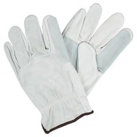 Grain Cowhide Leather Driver's Gloves with Split Leather Palm and Back - Large - Pair