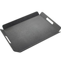 Cal-Mil 958-1-13 22 1/2 inch x 17 inch Black Room Service Tray with Raised Edges