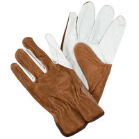 Grain Cowhide Leather Driver's Gloves with Brown Split Leather Backs - Medium - Pair