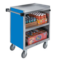 Lakeside 844BL Heavy-Duty Stainless Steel Three Shelf Utility Cart With Enclosed Base and Royal Blue Finish - 22 1/2 inch x 39 5/16 inch x 37 inch