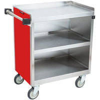 Lakeside 822RD Heavy-Duty Stainless Steel Three Shelf Utility Cart With Enclosed Base and Red Finish - 19 1/2 inch x 31 1/3 inch x 34 1/2 inch
