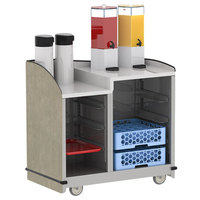 Lakeside 8706BS Stainless Steel Two Compartment Full-Service Hydration Cart with Dual Height Top and Beige Suede Finish - 43 3/16 inch x 25 3/4 inch x 42 1/2 inch