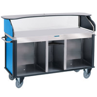 Lakeside 682-10-RB Serv 'N Express Stainless Steel Vending Cart with Flat Surface and Royal Blue Laminate Finish - 28 1/4 inch x 77 1/4 inch x 52 1/2 inch