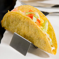 Choice 2 inch x 2 inch x 1 inch Stainless Steel Mini Taco Holder with 1 or 2 Compartments
