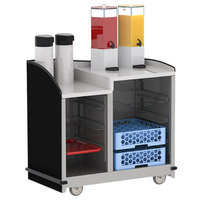 Lakeside 8706B Stainless Steel Two Compartment Full-Service Hydration Cart with Dual Height Top and Black Finish - 43 3/16 inch x 25 3/4 inch x 42 1/2 inch