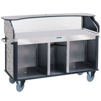 Lakeside 682-10-01 Serv 'N Express Stainless Steel Vending Cart with Flat Countertop and Gray Sand Laminate Finish - 28 1/4 inch x 77 1/4 inch x 52 1/2 inch