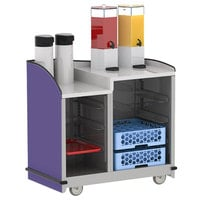 Lakeside 8706P Stainless Steel Two Compartment Full-Service Hydration Cart with Dual Height Top and Purple Finish - 43 3/16 inch x 25 3/4 inch x 42 1/2 inch