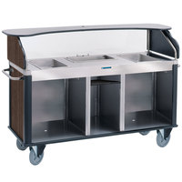 Lakeside 682-20-11 Serv 'N Express Stainless Steel Vending Cart with 3 Counter Wells and Walnut Laminate Finish - 28 1/4 inch x 77 1/4 inch x 52 1/2 inch