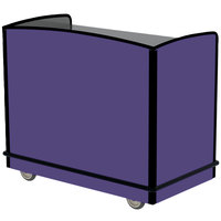 Lakeside 8704P Stainless Steel Two Compartment Full-Service Hydration Cart with Flat Top and Purple Laminate Finish - 43 3/4 inch x 25 3/4 inch x 38 1/4 inch