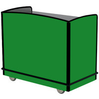 Lakeside 8704G Stainless Steel Two Compartment Full-Service Hydration Cart with Flat Top and Green Laminate Finish - 43 3/4 inch x 25 3/4 inch x 38 1/4 inch