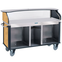 Lakeside 682-10-10 Serv 'N Express Stainless Steel Vending Cart with Flat Countertop and Light Maple Laminate Finish - 28 1/4 inch x 77 1/4 inch x 52 1/2 inch
