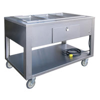 Lakeside PBST3W PrisonBilt Stainless Steel Three Pan Sealed Well Electric Steam Table with Undershelf - 208V, 3615W