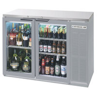Beverage Air BB48GY-1-S-27-LED 48 inch Stainless Steel Back Bar Refrigerator with 2 Glass Doors and Stainless Steel Top- 115V, LED Lighting