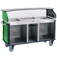 Lakeside 682-20-G Serv 'N Express Stainless Steel Vending Cart with 3 Counter Wells and Green Laminate Finish - 28 1/4 inch x 77 1/4 inch x 52 1/2 inch