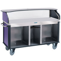 Lakeside 682-10-P Serv 'N Express Stainless Steel Vending Cart with Flat Countertop and Purple Laminate Finish - 28 1/4 inch x 77 1/4 inch x 52 1/2 inch