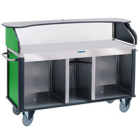 Lakeside 682-10-G Serv 'N Express Stainless Steel Vending Cart with Flat Countertop and Green Laminate Finish - 28 1/4 inch x 77 1/4 inch x 52 1/2 inch