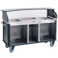 Lakeside 682-20-05 Serv 'N Express Stainless Steel Vending Cart with 3 Counter Wells and Black Laminate Finish - 28 1/4 inch x 77 1/4 inch x 52 1/2 inch