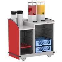 Lakeside 8706-R Stainless Steel Two Compartment Full-Service Hydration Cart with Dual Height Top and Red Finish - 43 3/16 inch x 25 3/4 inch x 42 1/2 inch