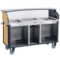 Lakeside 682-20-20 Serv 'N Express Stainless Steel Vending Cart with 3 Counter Wells and Light Maple Laminate Finish - 28 1/4 inch x 77 1/4 inch x 52 1/2 inch