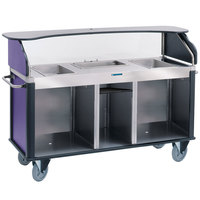Lakeside 682-20-P Serv 'N Express Stainless Steel Vending Cart with 3 Counter Wells and Purple Laminate Finish - 28 1/4 inch x 77 1/4 inch x 52 1/2 inch