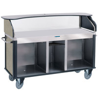 Lakeside 682-10-09 Serv 'N Express Stainless Steel Vending Cart with Flat Countertop and Beige Suede Laminate Finish - 28 1/4 inch x 77 1/4 inch x 52 1/2 inch