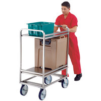 Lakeside PB1500T PrisonBilt Heavy-Duty Correctional Stainless Steel Two Shelf Utility Cart - 22 inch x 35 inch x 50 1/8 inch