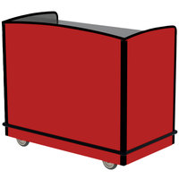 Lakeside 8704RD Stainless Steel Two Compartment Full-Service Hydration Cart with Flat Top and Red Laminate Finish - 43 3/4 inch x 25 3/4 inch x 38 1/4 inch