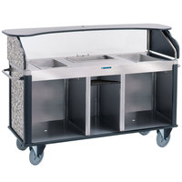 Lakeside 682-20-01 Serv 'N Express Stainless Steel Vending Cart with 3 Counter Wells and Gray Sand Laminate Finish - 28 1/4 inch x 77 1/4 inch x 52 1/2 inch