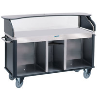 Lakeside 682-10-05 Serv 'N Express Stainless Steel Vending Cart with Flat Countertop and Black Laminate Finish - 28 1/4 inch x 77 1/4 inch x 52 1/2 inch