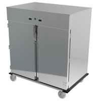Lakeside PB6760HC PrisonBilt Heavy-Duty Correctional Stainless Steel 12 Tray Meal Delivery Cart with One Heated and One Refrigerated Compartment