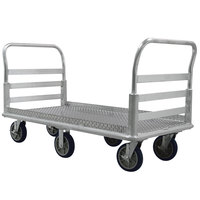 Lakeside PB991 PrisonBilt 66 1/2 inch x 30 inch Heavy-Duty Aluminum Platform Truck with Dual Handle - 2600 lb. Capacity