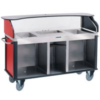 Lakeside 682-20-R Serv 'N Express Stainless Steel Vending Cart with 3 Counter Wells and Red Laminate Finish - 28 1/4 inch x 77 1/4 inch x 52 1/2 inch