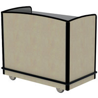 Lakeside 8704BS Stainless Steel Two Compartment Full-Service Hydration Cart with Flat Top and Beige Suede Laminate Finish - 43 3/4 inch x 25 3/4 inch x 38 1/4 inch