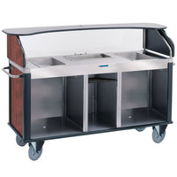 Lakeside 682-20-04 Serv 'N Express Stainless Steel Vending Cart with 3 Counter Wells and Red Maple Laminate Finish - 28 1/4 inch x 77 1/4 inch x 52 1/2 inch