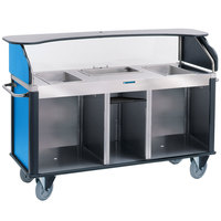 Lakeside 682-20-RB Serv 'N Express Stainless Steel Vending Cart with 3 Counter Wells and Royal Blue Laminate Finish - 28 1/4 inch x 77 1/4 inch x 52 1/2 inch