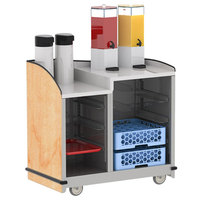 Lakeside 8706HRM Stainless Steel Two Compartment Full-Service Hydration Cart with Dual Height Top and Hard Rock Maple Finish - 43 3/16 inch x 25 3/4 inch x 42 1/2 inch