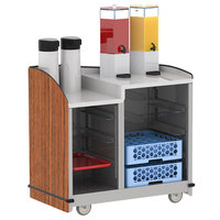 Lakeside 8706VC Stainless Steel Two Compartment Full-Service Hydration Cart with Dual Height Top and Victorian Cherry Finish - 43 3/16 inch x 25 3/4 inch x 42 1/2 inch