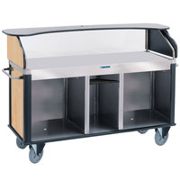 Lakeside 682-10-03 Serv 'N Express Stainless Steel Vending Cart with Flat Countertop and Hard Rock Maple Laminate Finish - 28 1/4 inch x 77 1/4 inch x 52 1/2 inch
