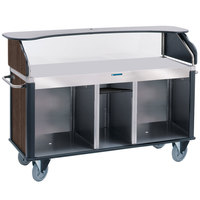 Lakeside 682-10-11 Serv 'N Express Stainless Steel Vending Cart with Flat Surface and Walnut Laminate Finish - 28 1/4 inch x 77 1/4 inch x 52 1/2 inch