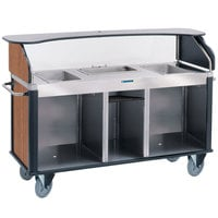 Lakeside 682-20-02 Serv 'N Express Stainless Steel Vending Cart with 3 Counter Wells and Victorian Cherry Laminate Finish - 28 1/4 inch x 77 1/4 inch x 52 1/2 inch