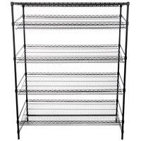Regency Black Epoxy 5-Shelf Angled Stationary Merchandising Rack - 24 inch x 60 inch x 74 inch