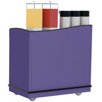 Lakeside 8708P Stainless Steel Full-Service Hydration Cart with Adjustable Universal Ledges and Purple Laminate Finish - 44 3/4 inch x 25 3/4 inch x 42 1/2 inch